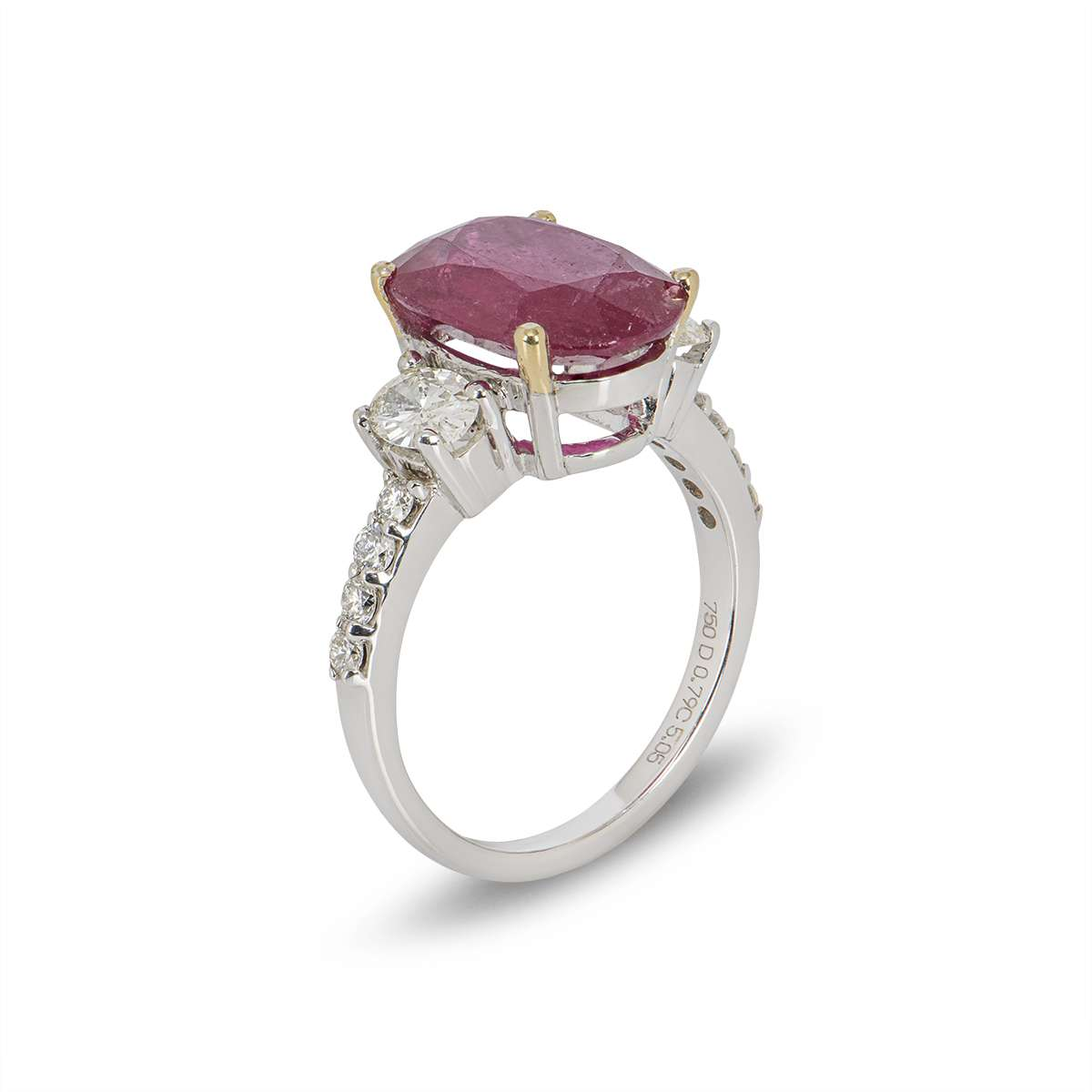 White Gold Ruby and Diamond Ring 5.05ct